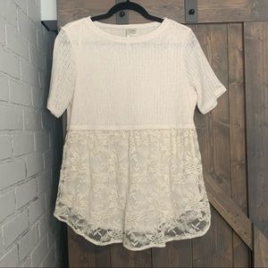 LC Lauren Conrad knit and lace top